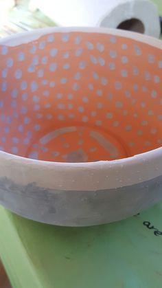 Bowl (8 x 4) Glaze: Gloss Black 3/4 Dip (outside) Antique Blue 1/4 Dip (outside and inside) Gloss Black Dots (inside)