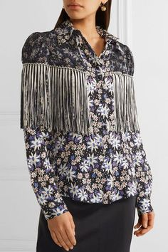 Anna Sui - Oops A Daisy Fringed Lace-paneled Printed Silk-blend Jacquard  Blouse - Black -