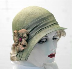 20's Style Summer Cloche Hat in Sage Green  Custom Order for Karen