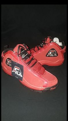 439eed256506 Fila Men s 96 Grant Hill Red Black Retro Basketball Shoes Size 9 US  fashion