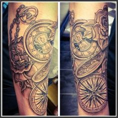 Pocketwatch, Compass & Roses Tattoo