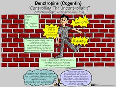 Benztropine (Cogentin) Benztropine reduces the effects of certain chemicals in the body that may become unbalanced as a result of disease (such as Parkinson's), drug therapy, or other causes.