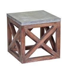zinc & brushed wood side table.