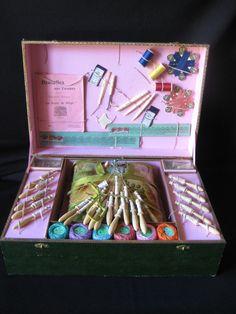 """Antique French Girls' Lacemaking Kit """"Dentelles Aux Fuseaux"""""""