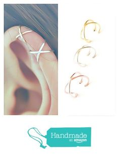 Criss Cross Ear Cuff X Cuff Earring Fake/Faux Cartilage Piercing Sterling Silver Rose/Yellow Gold Filled from New England Jewelry Designs https://smile.amazon.com/dp/B01N0PBDOA/ref=hnd_sw_r_pi_awdo_LH.Hyb5QJX6D0 #handmadeatamazon