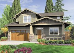Like the bottom floor layout, particularly the foyer/front office/powder room. Front View - 2000 square foot Craftsman home