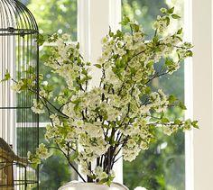 Faux White Cherry Blossom Branch #potterybarn