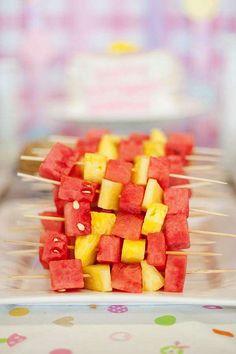 Fruit skewers, pancakes and pajamas party