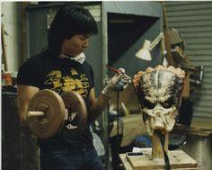 Multi-tasking master monster maker, Steve Wang, goofs for the camera at Stan Winston Studio