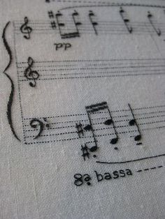 Embroidered piece of music for piano by Louise Peribert. Would make an excellent gift if one embroidered somebody's favourite song. Embroidery Art, Embroidery Applique, Cross Stitch Embroidery, Embroidery Patterns, Machine Embroidery, Cross Stitch Music, Cross Stitching, Hand Sewing, Needlework