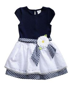 Navy & White Daisy-Accent Cap-Sleeve Dress - Toddler & Girls