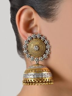 Buy Antique Silver Golden Naqqashi Granulated Jhumkas 92.5% Sterling Jewelry Online at Jaypore.com