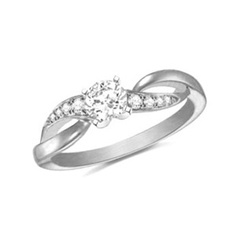 1/2 CT. T.W. Diamond Split Shank Engagement Ring in 14K White Gold - Size 3 - Clearance - Zales