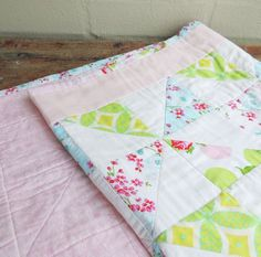 """Patchwork Baby Quilt """"blue birds and roses"""" baby cot quilt / play mat"""