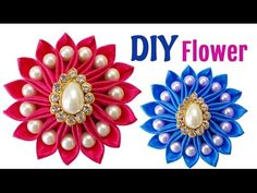 DIY for Girls : How to Make an Easy DIY Kanzashi Satin Ribbon Flower with Beads | Hair Accessories - YouTube