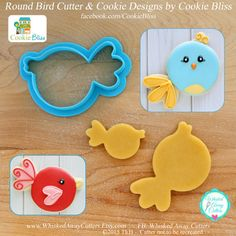 Round Bird Cookie Cutter & Fondant Cutter by by WhiskedAwayCutters