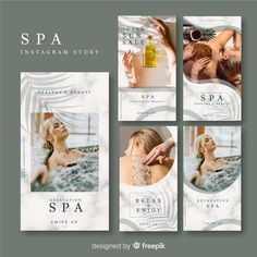 Spa banners collection with photo Free Vector Spa Brochure, Brochure Design, Instagram Story Template, Instagram Story Ideas, Mode Instagram, Nature Instagram, Facebook Layout, Spa Menu, Web Design