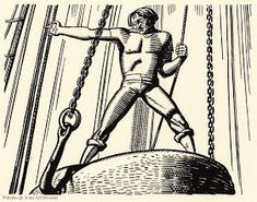 Moby Dick, by Herman Melville, illustrated by Rockwell Kent vol. II p. 229 (Cistern and Buckets) Melville Moby Dick, Rockwell Kent, Bibliophile, Museum, Illustration, Nantucket, Buckets, Paintings, Collar Stays
