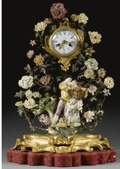 MEISSEN PORCELAIN GILDED BRONZE CLOCK IN A BOWER OF PORCELAIN FLOWERS