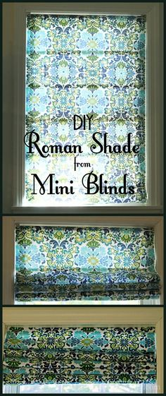 Learn how to make this easy and affordable roman shade from inexpensive mini-blinds in this step by step tutorial. Popular Pins!