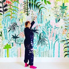 hand painted tropical mural wallpaper