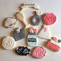 Wedding Shower Cookies~               by ShopCookieCouture on Etsy, $40.00, black tux, white dress, Champaign, pink rose, blue mason jar, diamond ring, wedding cake