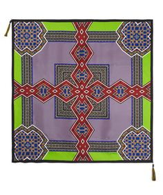 Green Geometric Print Silk Scarf