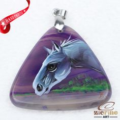 Hand Painted Horse Agate Slice Gemstone Necklace Pendant Jewlery D1705 1355 #ZL #Pendant