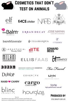 Cruelty Free Make-Up Brands [Chart] | ecogreenlove