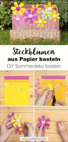 Werbung | Blumen aus Papier basteln. Steckblumen aus buntem Papier mit Kindern basteln. Farbenfrohe Sommerblumen zum Dekorieren und Verschenken selber machen. Nachhaltig mit recyceltem Altpapier kreativ werden. Ich zeige dir mit meiner Schritt für Schritt Anleitung, wie du die Blumendeko einfach selber machen kannst. Diy Origami, Diy Blog, Diy Projects, Paper Mill, Jewelry Making, Diy Presents, Colored Paper, Handyman Projects