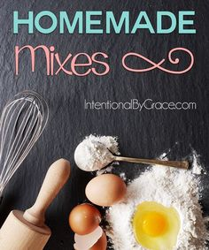 Homemade Mixes. Lots of recipes and mixes for a healthier kitchen. It's so much better for you to make it from scratch, and it's not hard to do either. These are great quick and easy ideas.