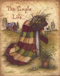 The Simple Life Poster Print by Mary Ann June x Arte Country, Estilo Country, Country Life, Country Style, Creation Photo, Primitive Gatherings, Country Paintings, Tole Painting, Country Primitive