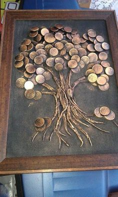 "Explore our internet site for additional relevant information on ""metal tree art diy"". It is actually an outstanding location to get more information. Metal Tree Wall Art, Metal Art, Coin Crafts, Glue Art, Coin Art, Art Diy, Money Trees, Button Art, Pebble Art"