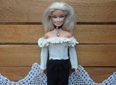 Barbie doll sweater shortened top milky with lace #clothesforBarbie #Barbiedress #topshortBarbie #knittop #dressytop #topwithsleeves #blouseBarbie #sweaterbarbie #whitelacetop