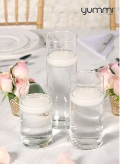 NEW Floating Candle and Cylinder Vase Set of 18! Shop Now at www.YummiCandles.com