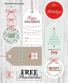 FREE Printable Holidays Tags and labels for gifts with matching cards!
