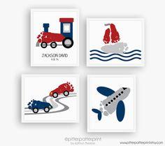 Transportation Art Print Set, Train, Airplane, Car, Sailboat Nursery Wall Decor, Baby Footprints, Personalized Boys Room, 5x7, 8x10 or 11x14