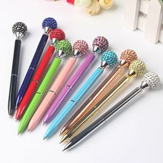 Creative Rhinestone Ball Crystal Ballpoint Pen Stationery Gift For Office School Desk Supplies, Cute Pens, Stationery Pens, Cute School Supplies, Writing Pens, Gifts For Office, Ballpoint Pen, Stationary, Great Gifts