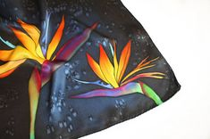 Dark blue man silk scarf Pocket square Bird of paradise silk hankies Christmas gift for boss Painted by hand scarf Floral silk gift for him ----------------------------------------------------------------------------------- READY to SHIP items! Bright hand painted pocket square silk scarf