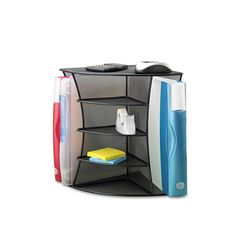 This versatile storage solution fits perfectly in a corner and can be used horizontally or vertically to meet your needs. The vertical orientation allows for upright storage of binders and folders with center shelves for supplies. The horizontal orientation offers binder/file storage at the back and below, plus a divided vertical center shelf that is perfect for CDs and small office supplies. The durable steel mesh construction is stylish enough for any workspace.   Product Features…
