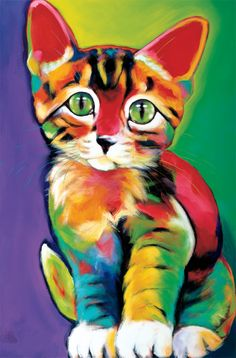 zentangle art watercolor colorful cat kitten