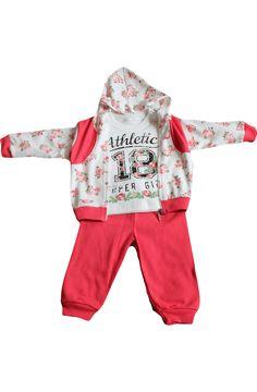 3 részes pamut melegítő szett: pulóver, hosszúujjú póló + nadrág Méretek: : 6 hónapos, 12 hónapos *Anyaga: 100 % pamut *Minőség: 1. osztály