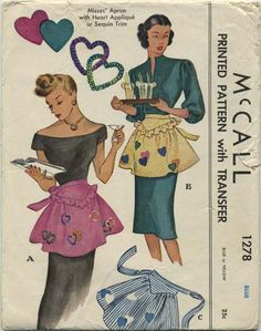 Vintage Apron Sewing Pattern | McCall 1278 | Year 1946 | One Size