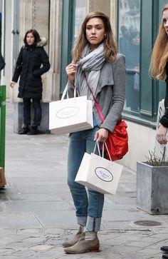 cc9df51fd72 Jessica Alba Ankle boots - Jessica Alba Fashion Lookbook - StyleBistro  Jessica Alba Hot