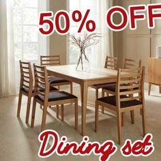 50 PERCENT OFF DISCOUNT Lewisham 160cm Oak Dining Table Set