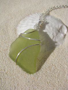 Sea Glass Jewelry Lime Green Sea Glass Necklace by BostonSeaglass,