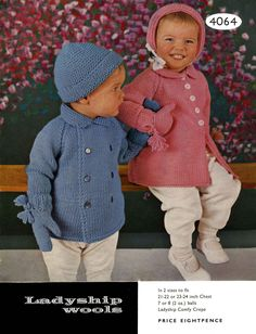 Vintage Pram Set, For Boy or Girl, Girls Coat,Boys Coat, Bonnet and Mitts (Bag and Thumb) Knitting Pattern,1960 (PDF) Pattern, Ladyship 4064 by LittleJohn2003 on Etsy