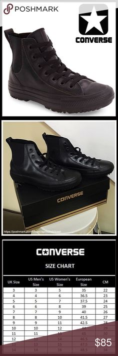 ❗️1-HOUR SALE❗️CONVERSE Water Repellent High Tops CONVERSE SNEAKERS Stylish Water Repellent Translucent High Tops *NEW IN BOX* AUTHENTIC * SIZING-Women's, this style is a generous cut & runs approx 1/2 large  COLOR- Black     * Round cap toe * Lace-up closure * Cushioned insole; Tiered Platform & textured grippy sole * Translucent rubber & water Repellent construction   * Tonal goring panels, flexible fit  MATERIAL Synthetic upper & sole  ❌NO TRADES❌ ✅BUNDLE DISCOUNTS✅ OFFERS CONSIDERED…
