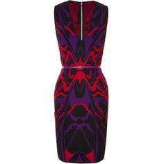 Elie Saab Sleeveless Intarsia Knit Sheath Dress (2,005 CAD) ❤ liked on Polyvore featuring dresses, sleeveless knit dress, abstract print dress, figure hugging dress, form fitted dresses and abstract dress