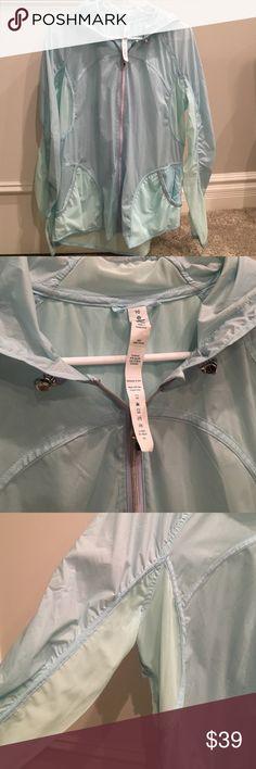 Lululemon light rain running jacket size 10 Light blue Lululemon light rain jacket. Size 10. New without tags. Reflective trim, hood, from pockets. lululemon athletica Jackets & Coats